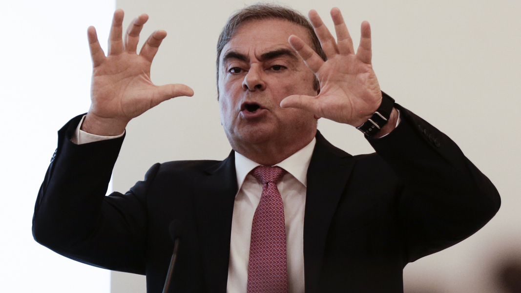 Former Nissan chairman Carlos Ghosn gestures as he speaks during a news conference at the Lebanese Press Syndicate in Beirut, Lebanon January 8, 2020. REUTERS